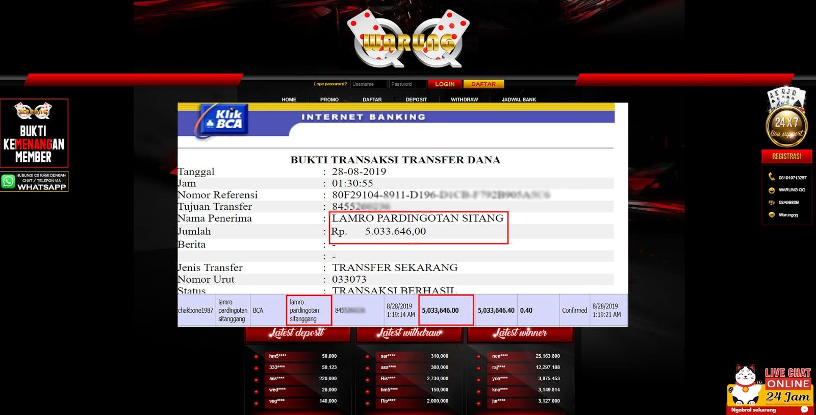 Selamat Kepada Member Setia WARUNGQQ Withdraw RP 5.033.646