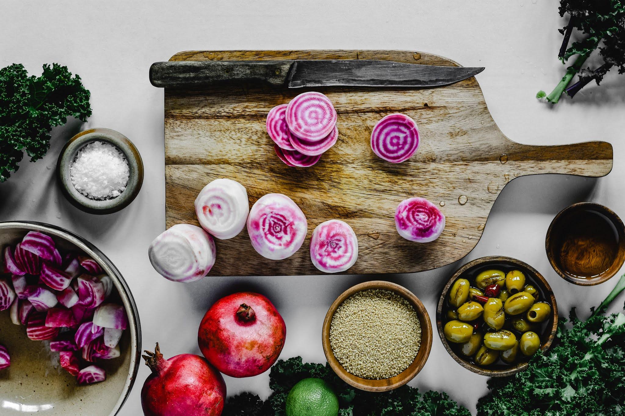 Veggies and chopping board