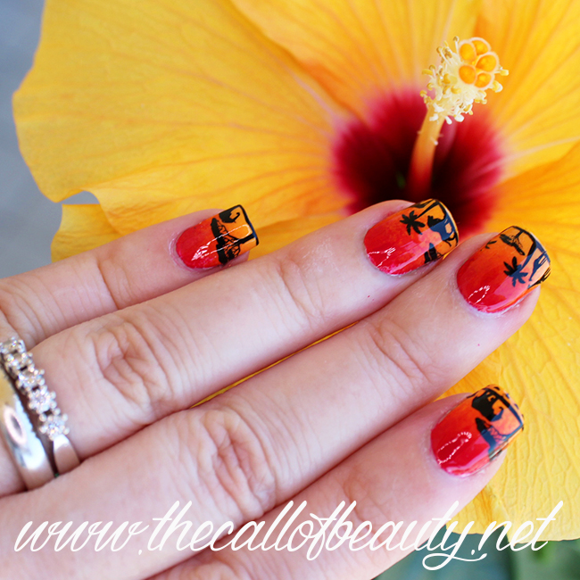 African Sunset nail art