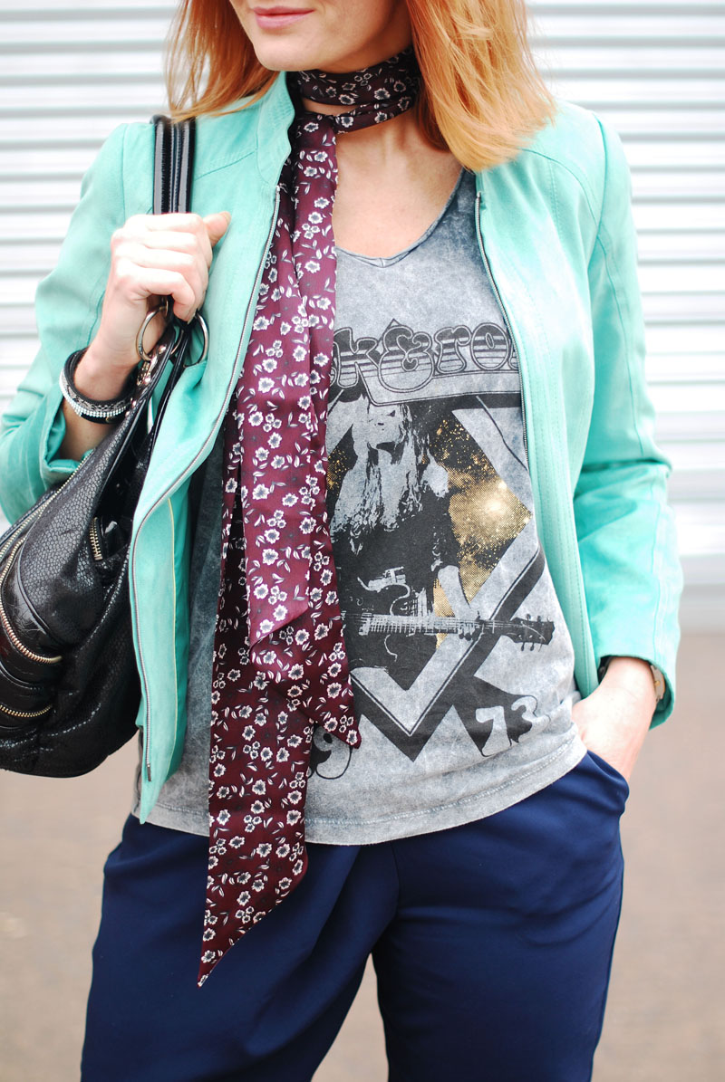 Rock Chic Meets Corporate Style: Navy and black with a rock tee, skinny scarf and mint biker jacket | Not Dressed As Lamb