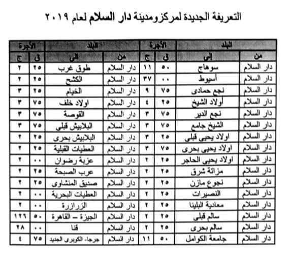 ننشر التعريفه الجديده للمواصلات داخل وبين المدن المصرية بعد زياده اسعار الوقود بجميع المحافظات FB_IMG_1562332401112