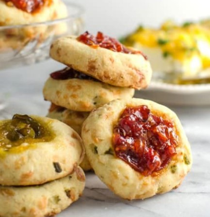 CHEESY THUMBPRINT COOKIES WITH BOURBON TOMATO JAM