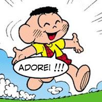 """O personagem Cascão, da Turma da Mônica, dizendo """"Adorei !"""""""