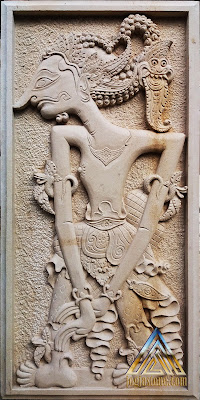 Relief batu alam paras jogja/batu alam paras putih bentuk wayang satyaki