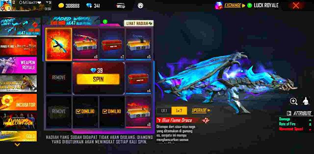 Harga atau Total Diamond Untuk Spin AK Draco