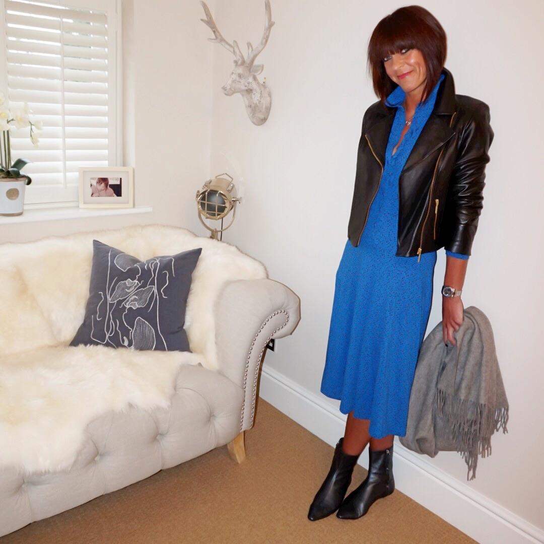 my midlife fashion, people tree allegra dot shirt dress, zara sock ankle boots, baukjen everyday biker jacket