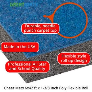 Greatmats Cheer Mats 6x42 foot x 1-3/8 inch carpet top flexible roll