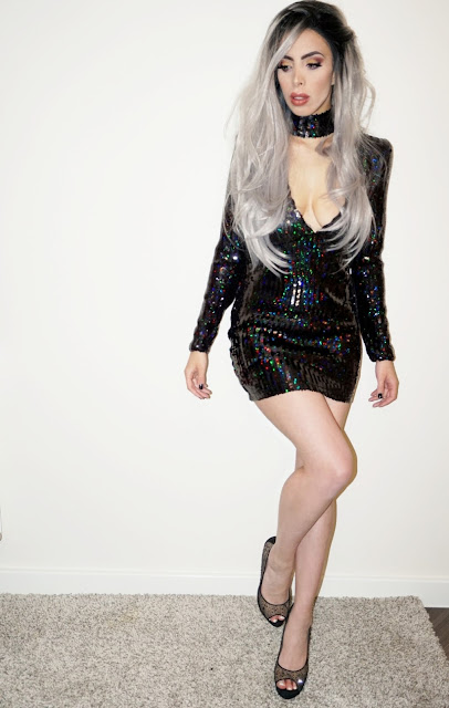 full length shot of the Meli Dress and Choker in Fishscale Sequin Black Iridescent by Motel Rocks