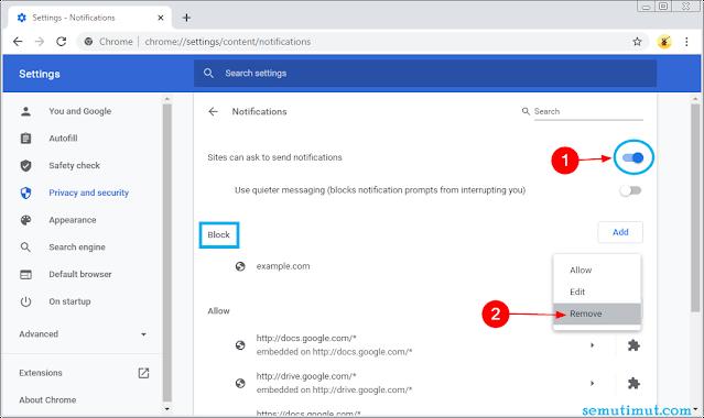 cara menghilangkan notifikasi pop up google chrome