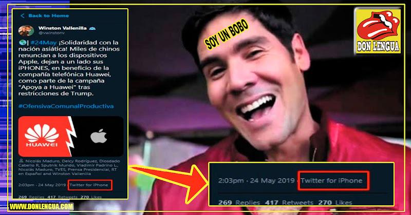 Winston Vallenilla se solidariza con Huawei publicando un mensaje desde su Iphone