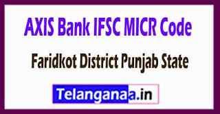 AXIS BANK IFSC MICR Code Faridkot District Punjab State