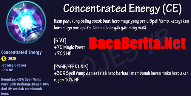 Fungsi item mage Concentrated Energy mobile legend