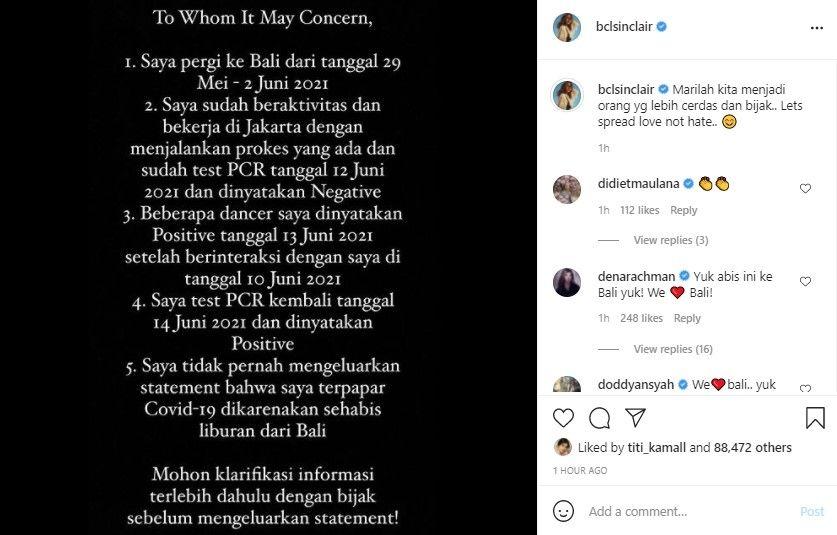 Klarifikasi Bunga Citra Lestari soal positif Covid-19. (Instagram/bclsinclair)
