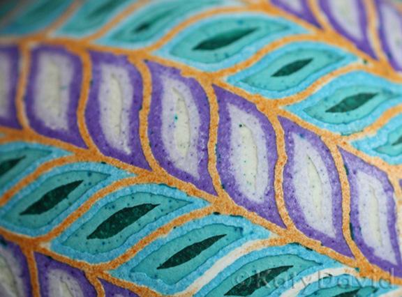 "©Katy David 2016 ""Purple Clematis"" Chicken eggshell, aniline dye, varnish"