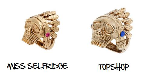 Clones 2011 anillo Miss Selfridge Topshop