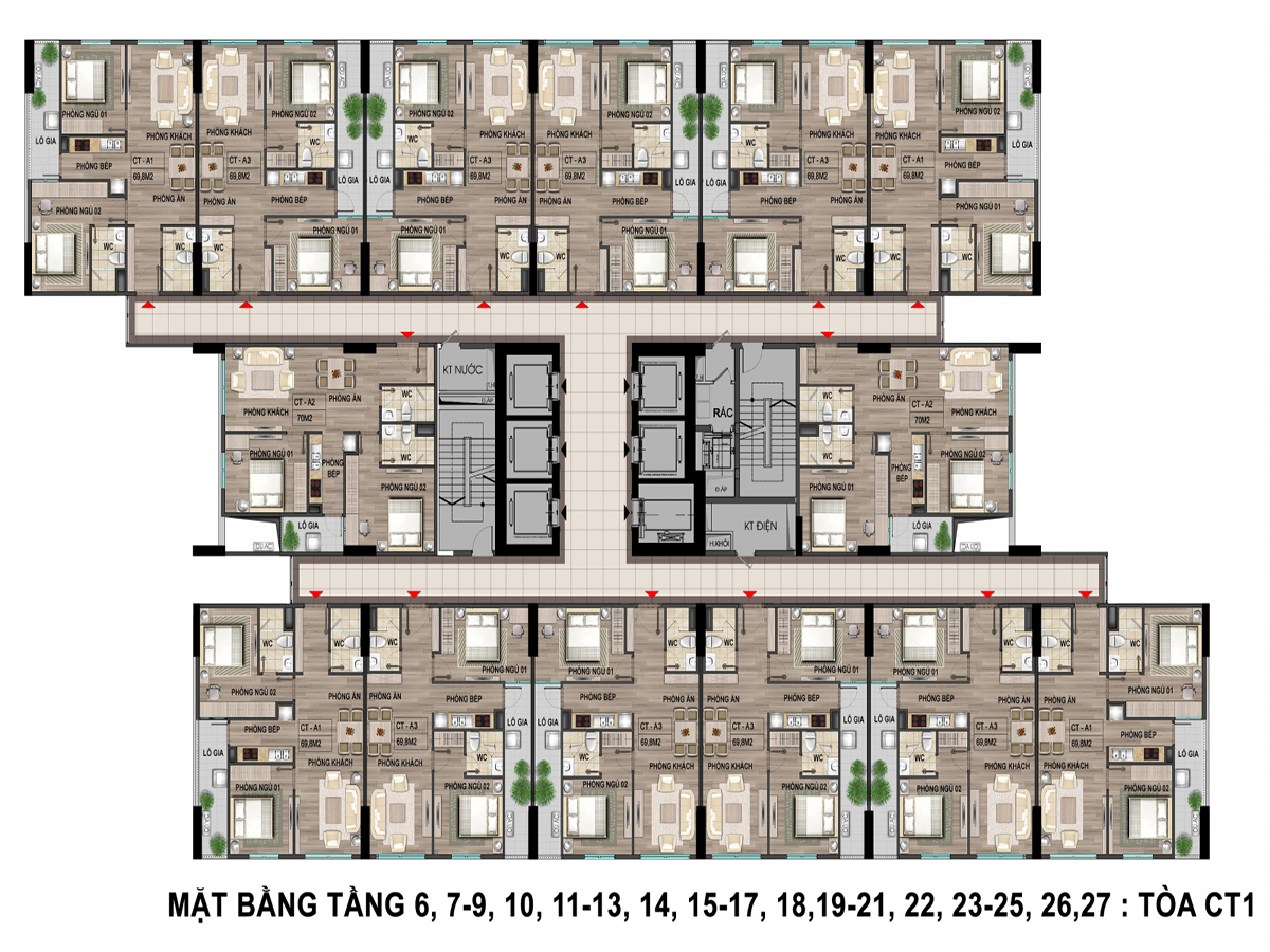 Mặt bằng tòa CT1, CT2, CT3, CT4 bộ công an