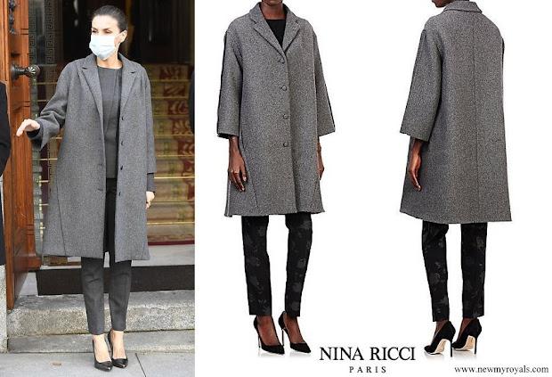 Queen Letizia wore Nina Ricci grey tweed swing coat