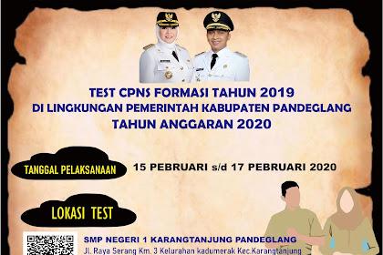 Pengumuman Nama Peserta dan Lokasi Tes CPNS Kabupaten Pandeglang 2020