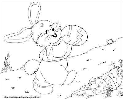 Happy Easter bunny with Easter eggs-printable coloring page