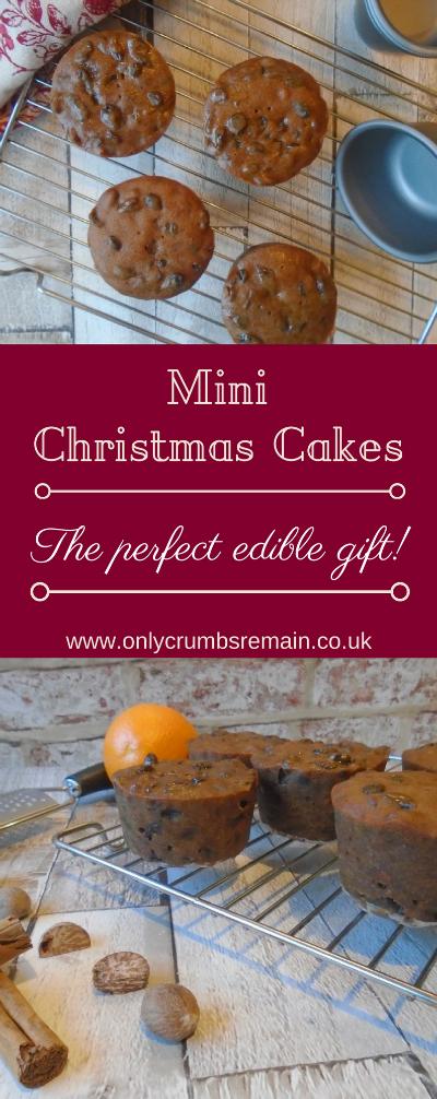 Homemade Mini Christmas Cakes, perfect for an easy to make edible gift.