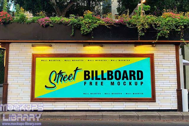 street wall billboard mockup