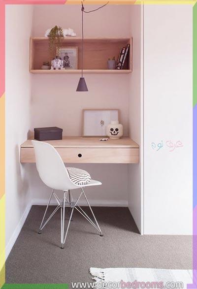 تفصيل مكتب في زاوية غرف نوم صغيرة