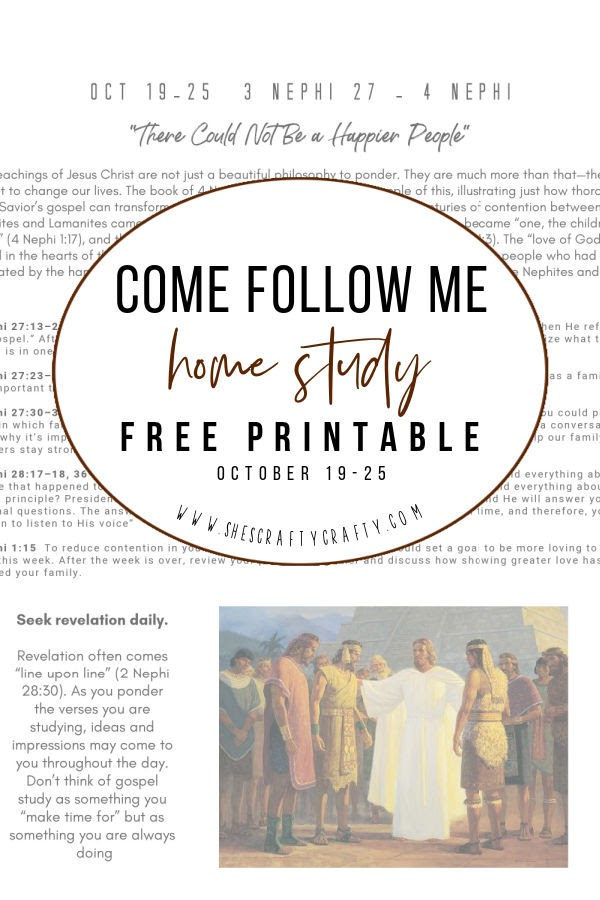 Come Follow Me home study Free Printable Oct 19-25 |  pin