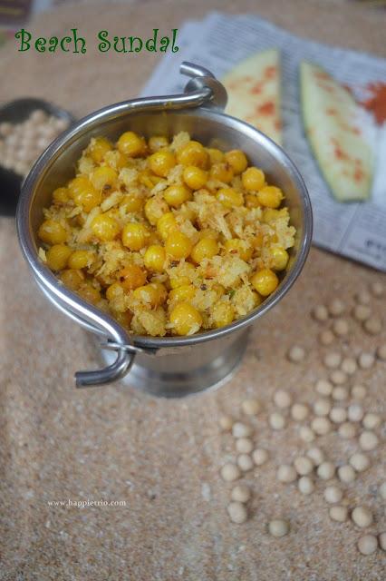 Beach Sundal Recipe | Thengai Manga Patani Sundal | Peas Raw Mango Sundal