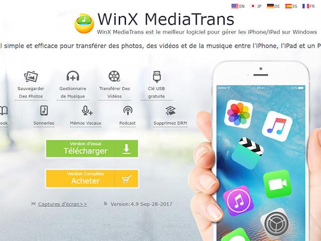 هدية:اليك رخصة برنامج WinX MediaTrans لإدارة جهاز آيفونiPhone الخاص بك على جهاز الكمبيوتر