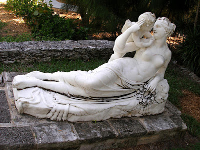 Marble sculpture of Venus and Cupid Reclined, Versailles Gardens, Paradise Island, Bahamas.