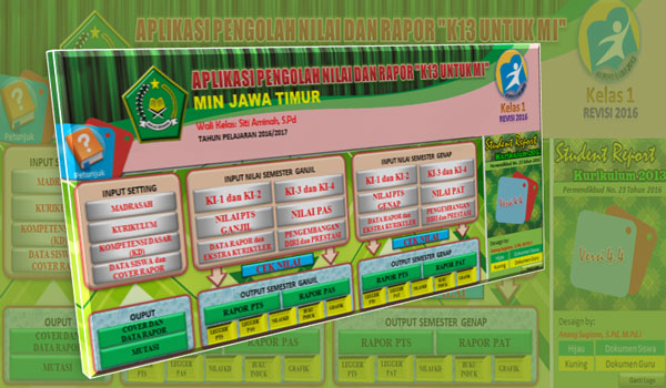 Download Aplikasi Raport MI Kurikulum 2013 Terbaru Revisi 2016 Kelas 1 2 3 4 5 6