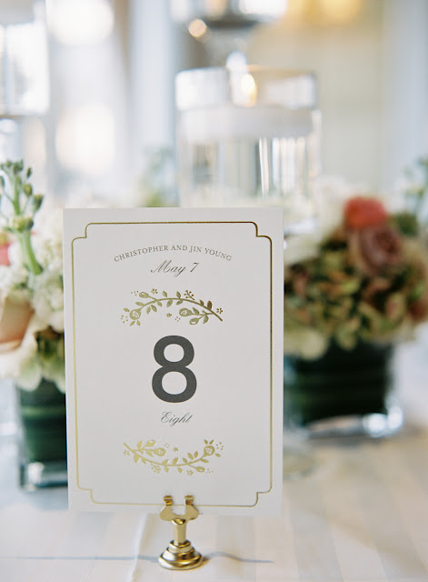 Table cards at Bridgeview Yacht Club