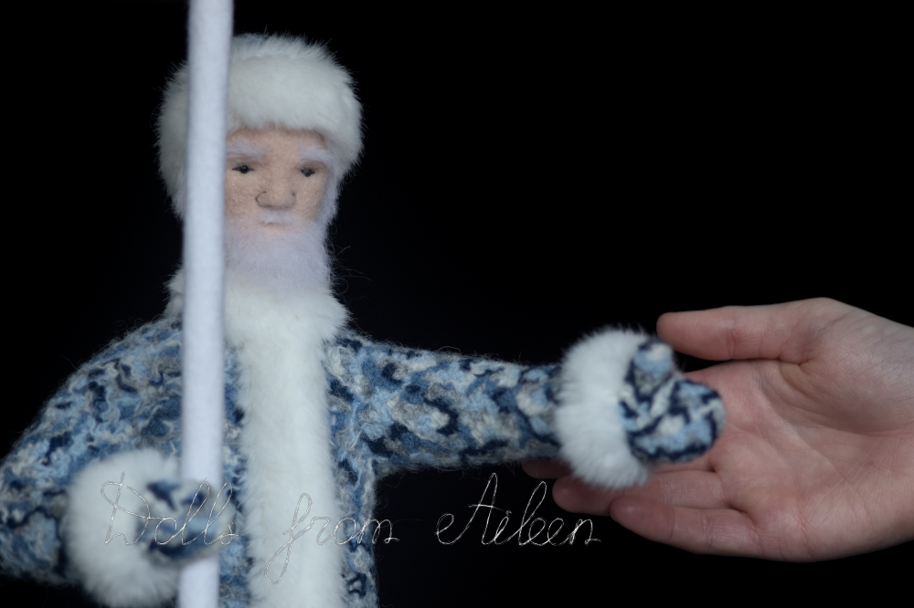 ooak needle felted Ded Moroz doll with human hand