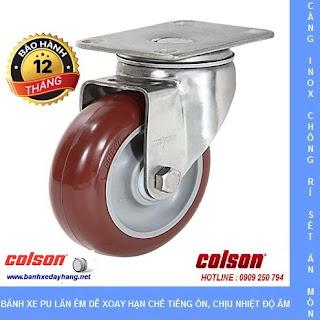 Bánh xe PU đỏ, càng bánh xe inox xoay chịu tải 90kg đến 114kg/bánh www.banhxedayhang.net