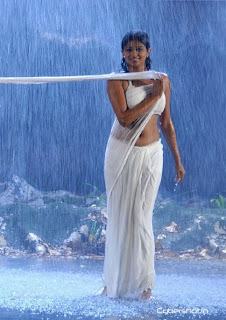 Priyamani in Transparent wet white Saree dance in Rain Romantic Pics