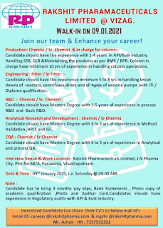 ITI and Diploma Walk in interview for Maintenance and Production Department in Rakshit Pharamaceuticals Limited
