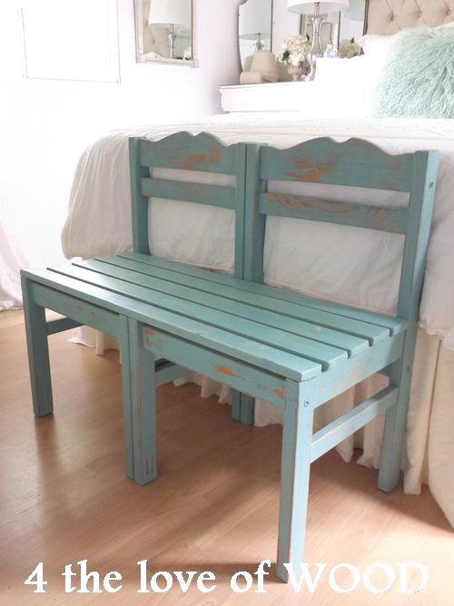 4 the love of wood: BENCH MADE FROM CHAIRS painted in ...
