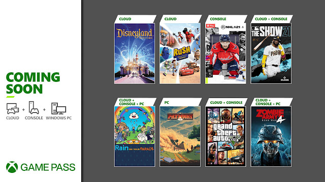 xbox game pass 2021 grand theft auto 5 zombie army 4 dead war mlb: the show 21 nhl 21 pathway disneyland adventures rain on your parade rush: a disney/pixar adventure xb1 xsx
