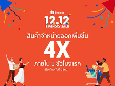 Shopee 12.12 Birthday Sale เผยสถิติใหม่ส่งท้ายปี สินค้าจำหน่ายออกเพิ่มขึ้น 4 เท่า ภายใน 1 ชั่วโมงแรกเมื่อเทียบกับปีที่แล้ว