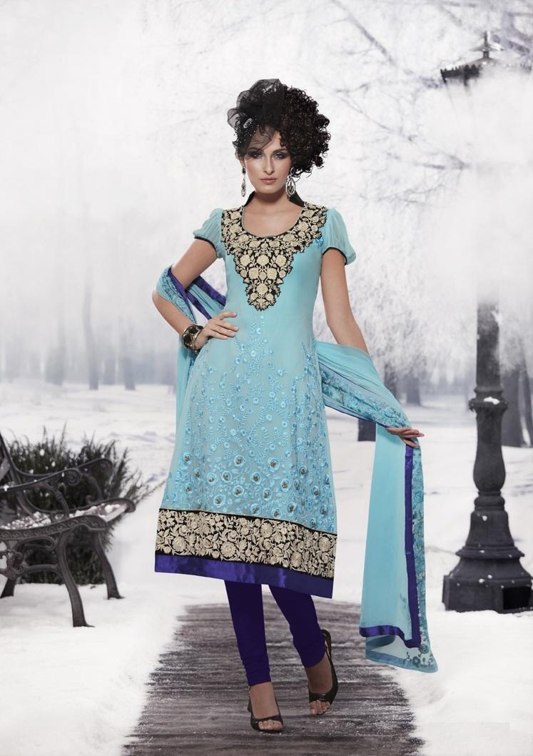 Modern Universe Fashions Blue A Line Pure Chiffon