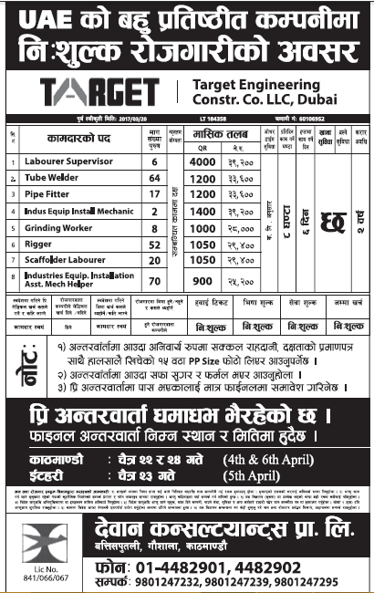 Jobs in UAE for Nepali, Salary Rs 39,200