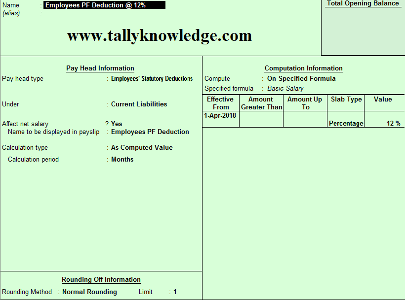 How to Create Employee Statutory Deduction pay head in Tally for
