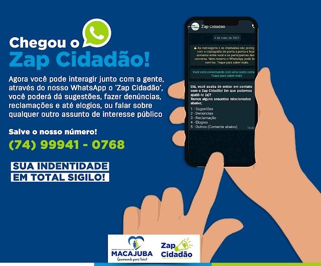 Prefeitura de Macajuba lança 'Zap Cidadão'