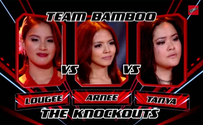 The Voice of the Philippines Season 2 Knock Out Rounds Team Bamboo; Arnee Hialdgo, Tanya Diaz and Lougee Basabas