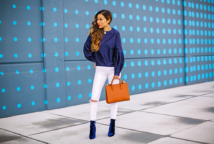 ASOS WHITE Organza Puff Sleeve Top, blue puff sleeve top, strathberry midi tote, asos white jeans, steve madden velvet ankle booties, Kendra Scott Isabella Choker Necklace In Rose Zellige, san francisco fashion blog, san francisco street style