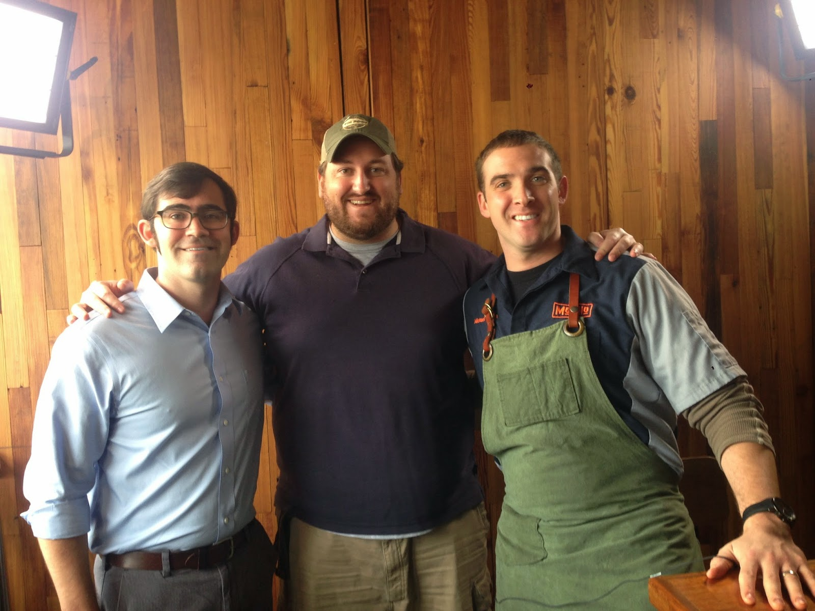 Daniel Shumacher, Jay Ducote, and Michael Gulotta smile after filming at MoPho