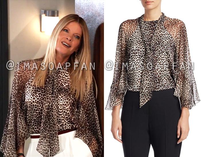 Nina Reeves, Michelle Stafford, Silk Leopard Print Blouse, General Hospital, GH