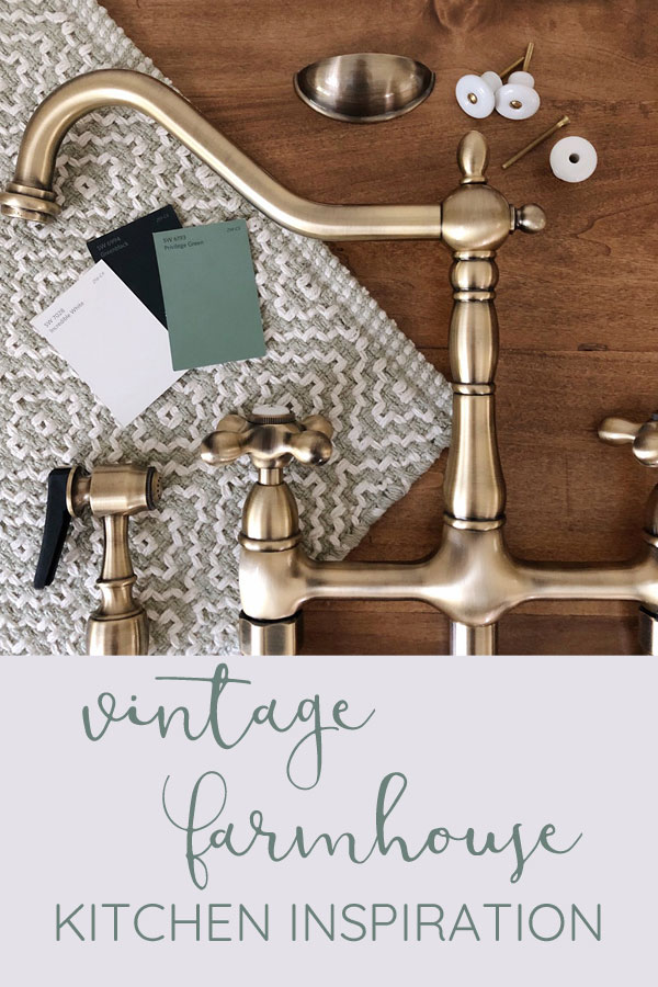 Vintage farmhouse kitchen design flatlay with antique brass, sage green, rustic wood tones, porcelain knobs, and black accents. Add farmhouse style to your kitchen with the Kingston Brass Heritage Bridge Faucet.