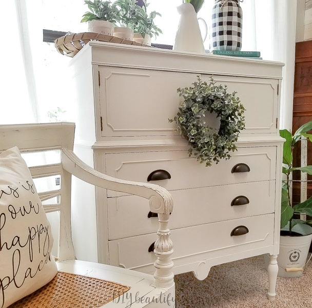 white cottage dresser makeover