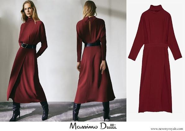 Queen Maxima wore Massimo Dutti flared dark pink high neck open back dress